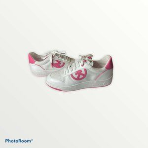 Michael Kors Logo White Leather w/Pink Sneakers